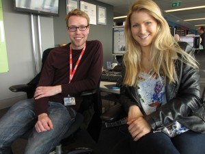 Shona and Jim in the Newsbeat newsroom at New Broadcasting House.